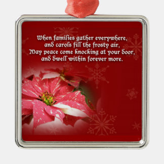 Poinsettia on Red With Poem Christmas Ornament