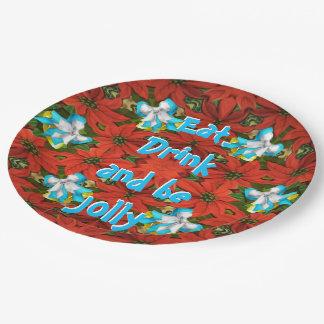Poinsettia Paper Plate