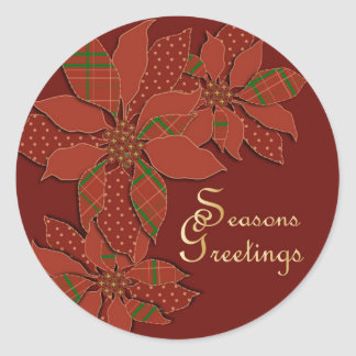 Poinsettia Patchwork Classic Round Sticker
