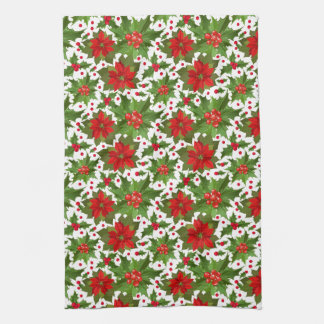 Poinsettia Pattern Kitchen Towel