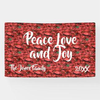 Poinsettia Peace Love and Joy Banner