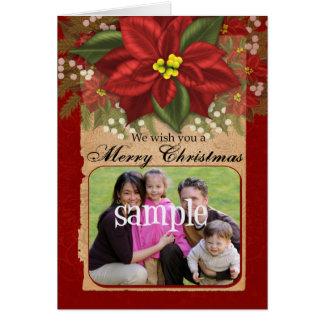Poinsettia Photo Christmas Greeting Card