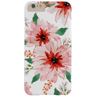 Poinsettia Pink Berry Christmas Case. Barely There iPhone 6 Plus Case