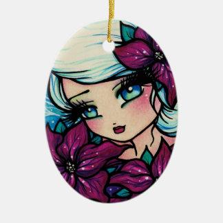Poinsettia Pixie Fantasy Art by Hannah Lynn Christmas Ornament