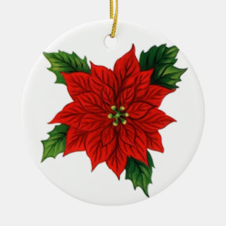 Poinsettia Round Ceramic Decoration