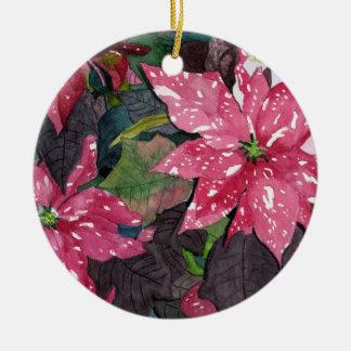 Poinsettia Round Ceramic Decoration