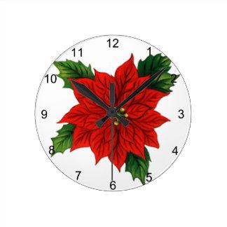 Poinsettia Round Clock