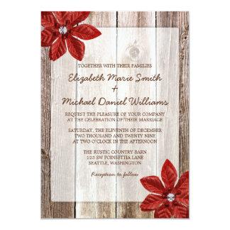 Poinsettia Rustic Barn Wood Wedding Invitations