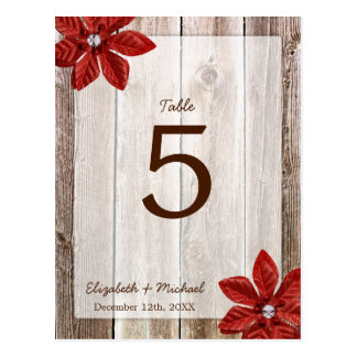 Poinsettia Rustic Barn Wood Wedding Table Number Postcard