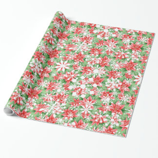Poinsettia Snowflakes Christmas pattern Wrapping Paper