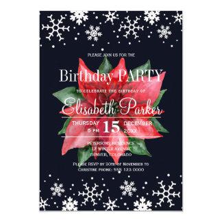 Poinsettia snowflakes dark blue birthday party card