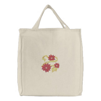 Poinsettia Trio Embroidered Bag
