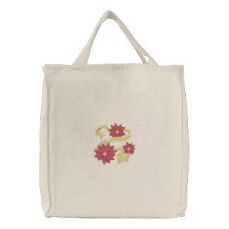 Poinsettia Trio Embroidered Tote Bag