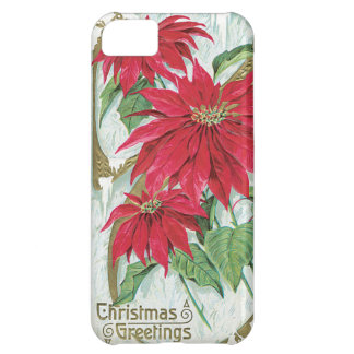 Poinsettia Vintage Christmas Card Cover For iPhone 5C