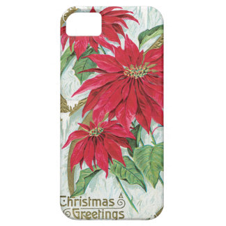 Poinsettia Vintage Christmas Card iPhone 5 Covers