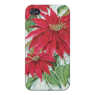 Poinsettia Vintage Christmas Card Cover For iPhone 4