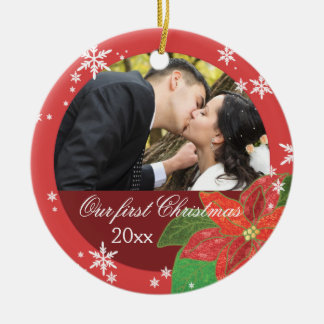 Poinsettia Wedding Couple's First Christmas Gift Round Ceramic Decoration