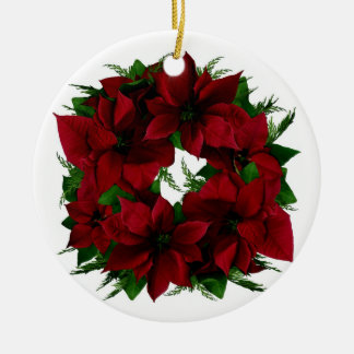 Poinsettia Wreath Ornament 2016
