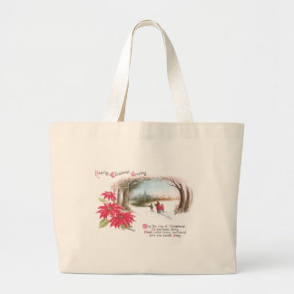 Poinsettias and Arch of Trees Vintage Christmas Jumbo Tote Bag