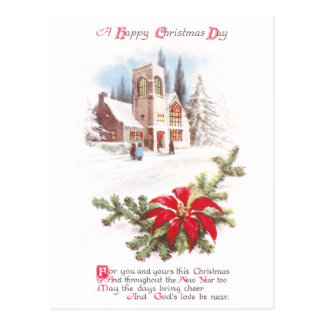 Poinsettias and Church in Snow Vintage Christmas Postcard
