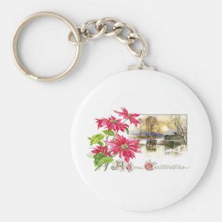Poinsettias and Country Vignette Vintage Xmas Basic Round Button Key Ring