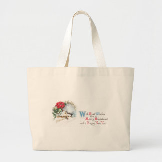Poinsettias and House in Snow Vintage Christmas Jumbo Tote Bag