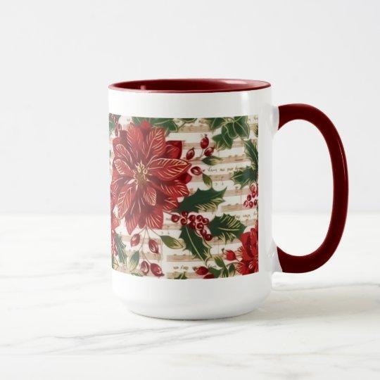 Poinsettias and Music Christmas Mug