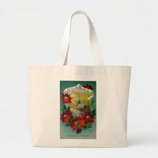 Poinsettias and Peaceful Church Vintage Christmas Canvas Bags