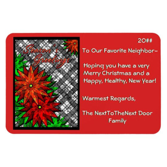 Poinsettias and Plaid (Personalised) Rectangular Photo Magnet