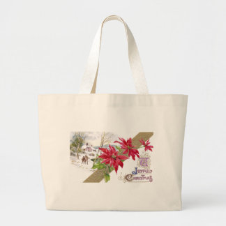 Poinsettias and Shivery Vignette Vintage Christmas Tote Bag