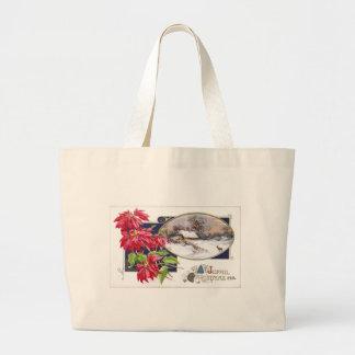 Poinsettias and Snowy Vignette Vintage Christmas Canvas Bag