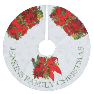 Poinsettias and White Snowflakes with Text Brushed Polyester Tree Skirt
