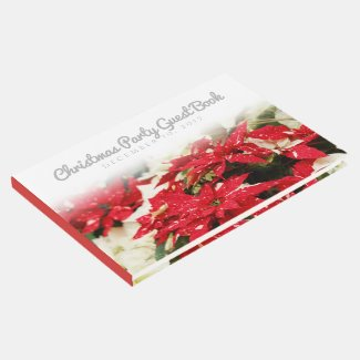 Poinsettias Christmas Party Guest Book