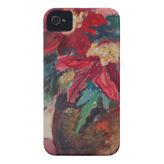 Poinsettias in a Brown Vase iPhone 4 Case-Mate Case