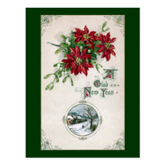 Poinsettias, Mistletoe & Vignette Vintage New Year Postcard