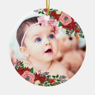 Poinsettias & Roses | Baby's First Christmas Christmas Ornament