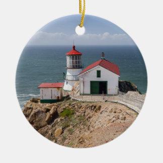 Point Reyes Lighthouse, Marin County, California Round Ceramic Decoration
