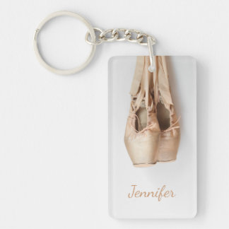 Pointe Shoes Double-Sided Rectangular Acrylic Key Ring