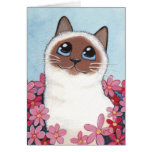 Pointed Birman Cat & Flowers - Cat Art Blank Card