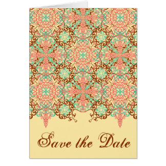Pointed Intricate Arabesque save the date Greeting Cards