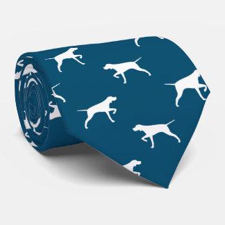 Pointer Dog Silhouettes Pattern Blue Tie