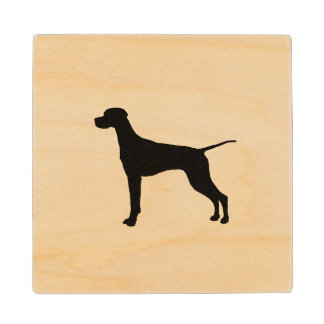 Pointer Silhouette Love Dogs Wood Coaster