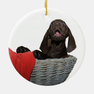 Pointer Sister in a basket Round Ceramic Decoration