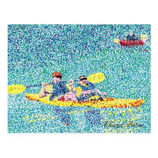 Pointillism kayak scene on the river postcard