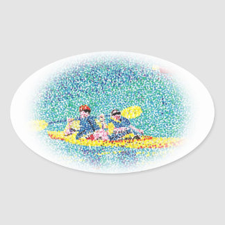 Pointillism Kayak Scene Painting, oval stickers