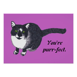 Pointillism Tuxedo Cat Your message Posters