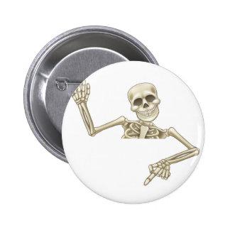 Pointing and Waving Cartoon Skeleton 6 Cm Round Badge