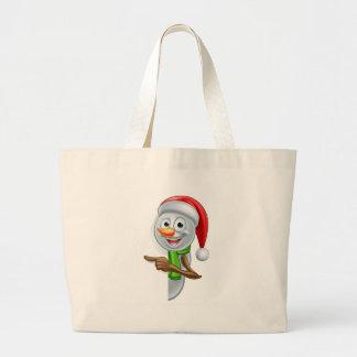 Pointing Cartoon Christmas Santa Hat Snowman Large Tote Bag
