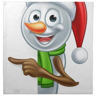 Pointing Cartoon Christmas Santa Hat Snowman Napkins