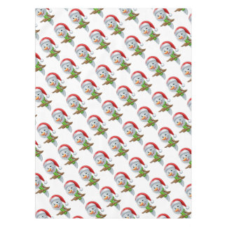Pointing Cartoon Christmas Santa Hat Snowman Tablecloth